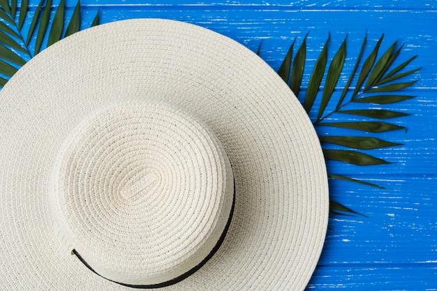 Folhagem de planta verde fresco perto de chapéu
