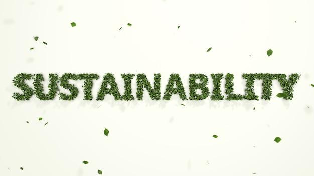 Folhas 3d abstratas formando texto de sustentabilidade em fundo branco, inovação em ambiente ecológico criativo, tendência de negócios industriais de energia limpa e sustentável