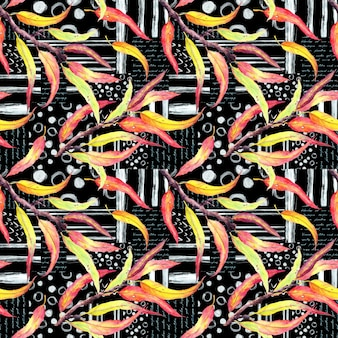 Folhas abstratas em fundo preto com listras, texto. padrão sem emenda com linhas artísticas de tinta, pontos, círculos, notas escritas à mão, aquarela