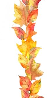 Folhas amarelas, bagas. repetindo o quadro de outono. tira de aquarela