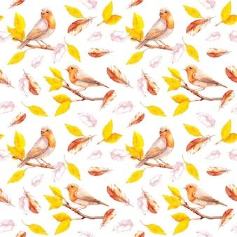 Folhas amarelas em galhos de outono com pássaros, penas caindo. fundo de repetição. aquarela