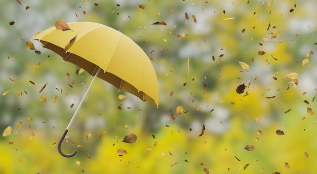 Folhas caindo em um guarda-chuva