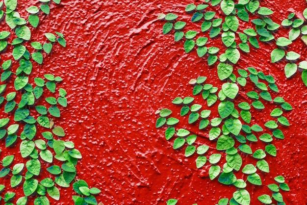 Folhas, com, grunge, fundo, cimento, antigas, textura, parede