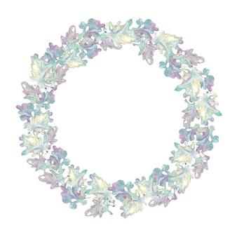 Folhas de carvalho em forma de coroa de aquarela desenhada à mão isoladas no fundo branco. tons roxos