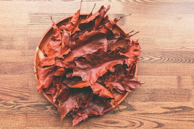 Folhas de carvalho vermelho na placa de madeira sobre uma mesa