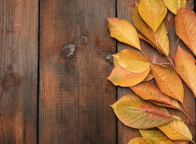 Folhas de cerejeira amarelas em uma mesa de madeira marrom