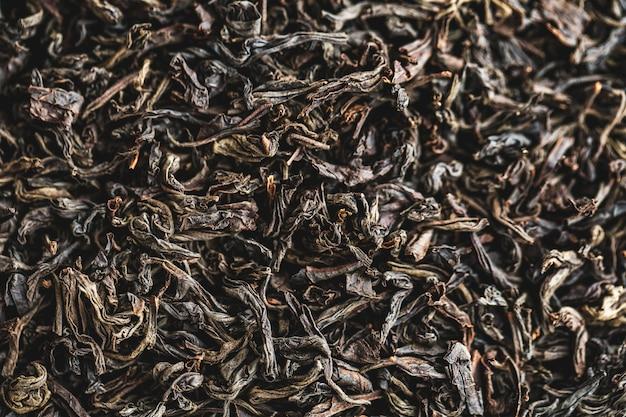 Folhas de chá grandes pretas