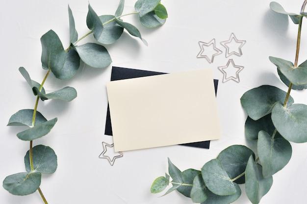 Folhas de eucalipto e cartão com clipes de papel de estrelas