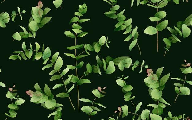 Folhas de eucalipto em aquarela sem costura de fundo