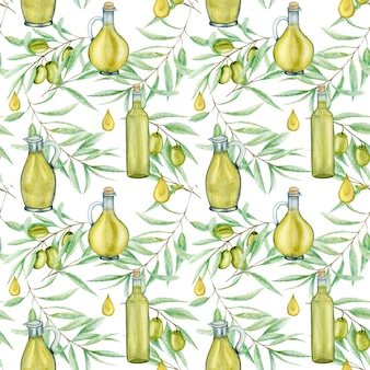 Folhas de galho de oliveira verde aquarela padrão sem emenda e frasco de óleo de vidro