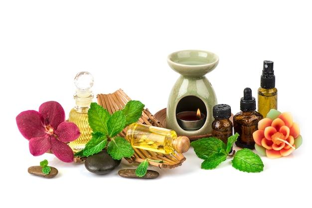 Folhas de hortelã de cozinha ou hortelã do pântano, queimador de óleo e óleo essencial isolado no fundo branco.