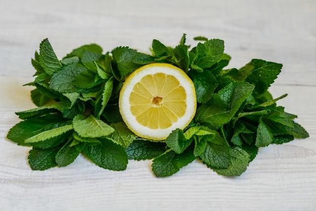 Folhas de hortelã suculenta fresca e limão