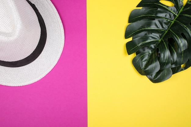 Folhas de monstera e um chapéu