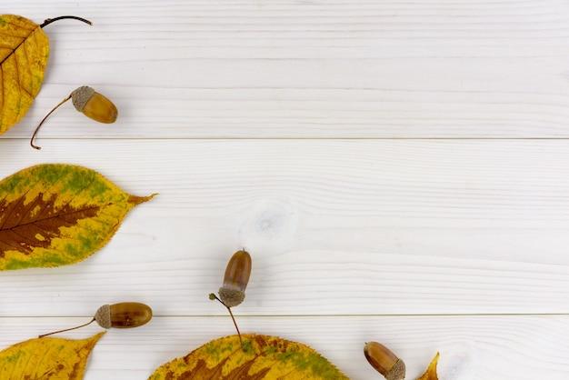 Folhas de outono amarelas e bolota em uma mesa de madeira branca