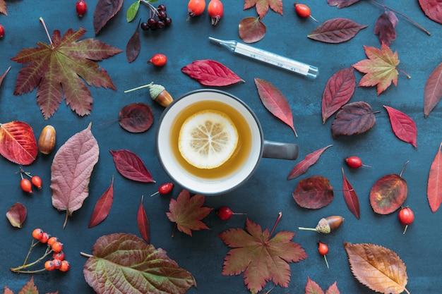 Folhas de outono coloridas, bagas de rosa mosqueta madura com uma xícara de chá quente com limão, termômetro de mercúrio com alta temperatura sobre fundo azul, plana leigos