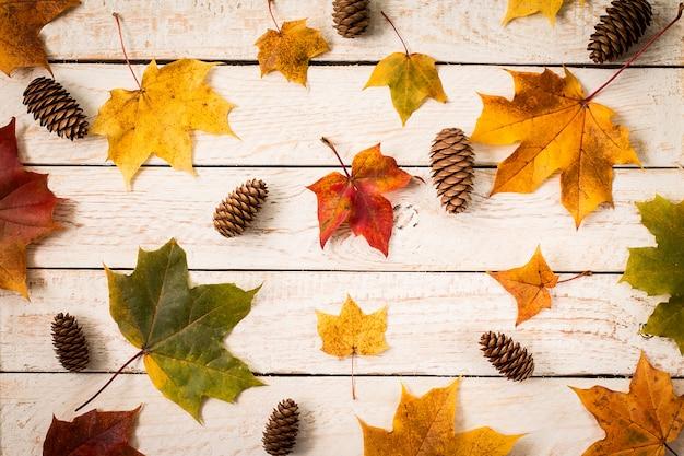 Folhas de outono coloridas na superfície de madeira