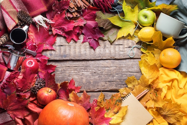 Folhas de outono colorido de ação de graças