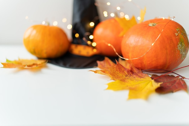 Folhas de outono com borda de abóbora na parte inferior, chapéu preto, fundo lindo de outono. luzes piscando no fundo, lindo bokeh.