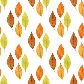 Folhas de outono com padrão sem emenda esboçado.