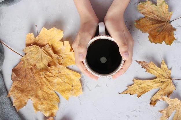 Folhas de outono e uma xícara de café nas mãos femininas em um fundo cinza, vista de cima, plana leigos