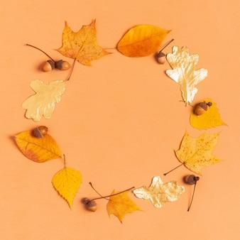 Folhas de outono em um fundo pastel