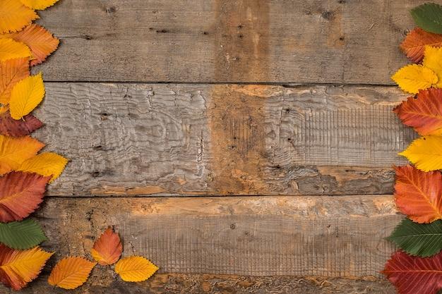 Folhas de outono na superfície da mesa de madeira flat lay