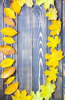 Folhas de outono reais deitado em um círculo sobre fundo de madeira. foto sazonal. cores amarelas e verdes com textura. copie o lugar do espaço. cartão postal de novembro.