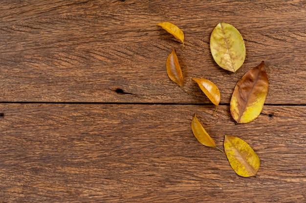 Folhas de outono secas na textura de fundo madeira marrom envelhecida com copyspace