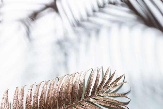 Folhas de palmeira douradas e sombras o