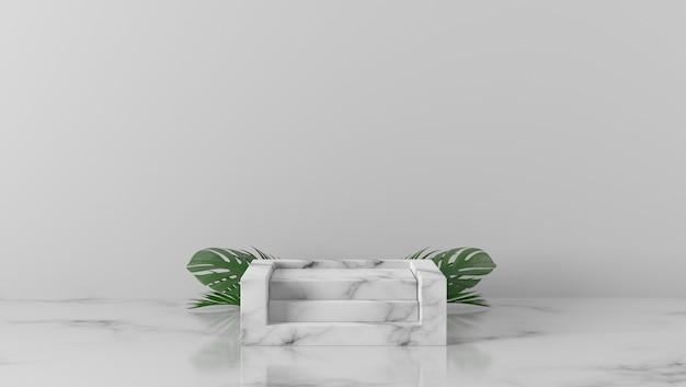 Folhas de palmeira e pódio de mármore branco de luxo em fundo branco