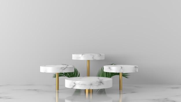 Folhas de palmeira e pódio de vitrine de cilindro de mármore branco de luxo quatro em fundo branco