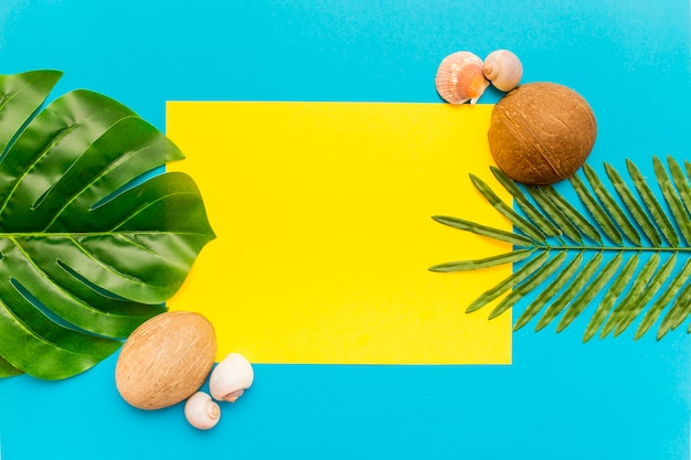 Folhas de palmeira tropical em fundo amarelo e azul