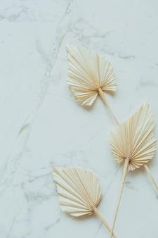Folhas de papel artesanal em leque bronzeado na superfície de mármore