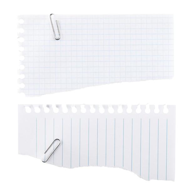 Folhas de papel em branco rasgadas do bloco de notas - isoladas