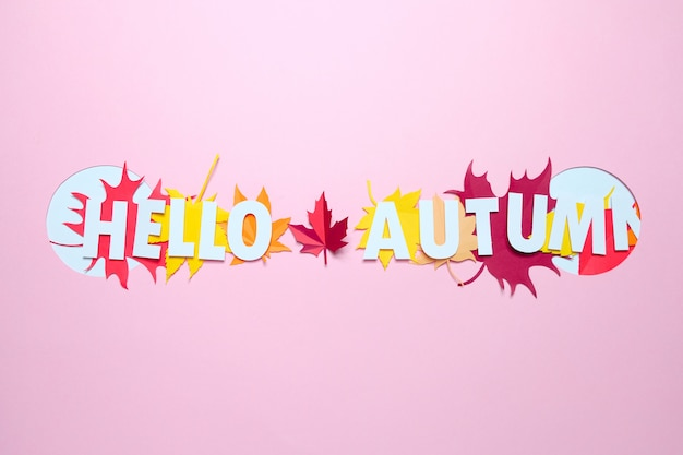 Folhas de papel em cores de outono
