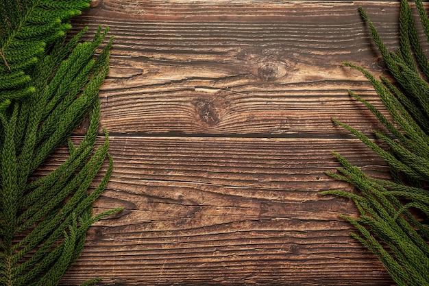 Folhas de pinheiro colocadas sobre fundo de madeira