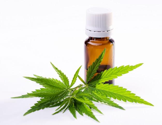 Folhas de plantas de cannabis e cannabis extraem óleo na garrafa.