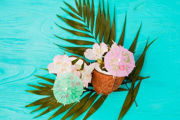Folhas de plantas e cocos perto de flores e guarda-chuvas ornamentais