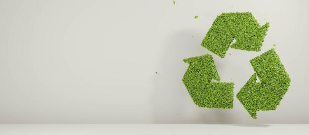 Folhas de renderização 3d formando símbolo de reciclagem verde natureza ambiente reciclagem ilustração abstrata conceito de fundo plástico biodegradável sinal de embalagem gratuita