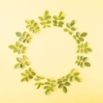 Folhas de rosa dispostas em um círculo sobre um fundo amarelo. conceito de primavera de flores naturais com espaço de cópia.