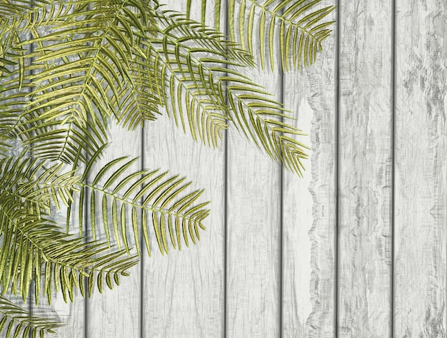 Folhas de samambaia 3d em uma textura de madeira branca
