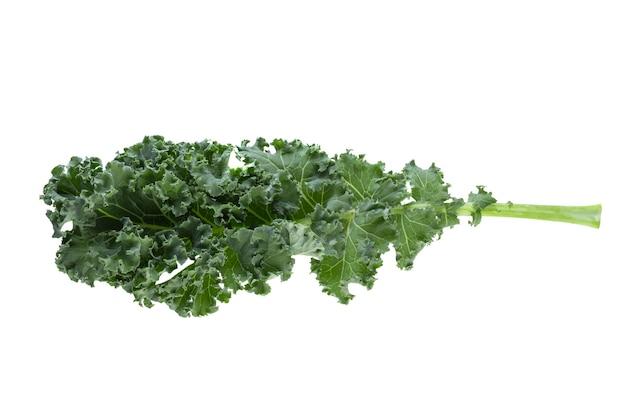 Folhas de vegetais verdes isoladas em branco
