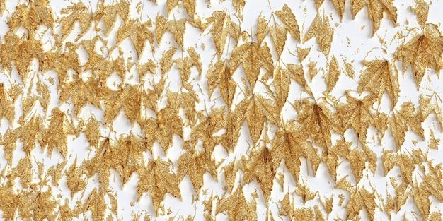 Folhas douradas em ilustração 3d de fundo branco