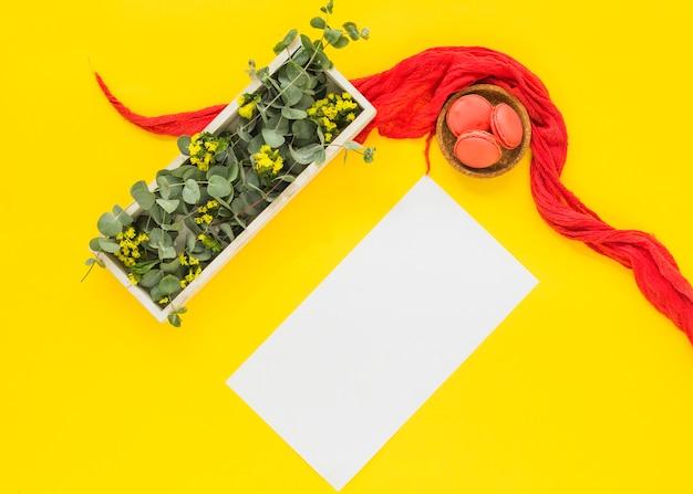 Folhas e flores na caixa de madeira; cartão em branco; macaroons tigela em fundo amarelo