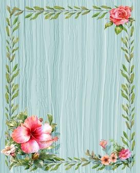 Folhas e moldura em aquarela de flores