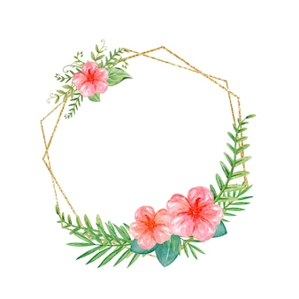 Folhas exóticas em aquarela com moldura tropical e arte em aquarela de hibisco com grinalda verde