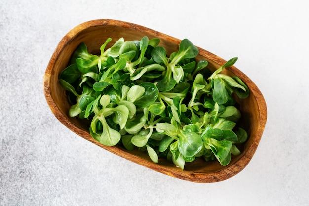 Folhas frescas de milho jovem ou alface de cordeiro na mesa cinza. vista do topo .