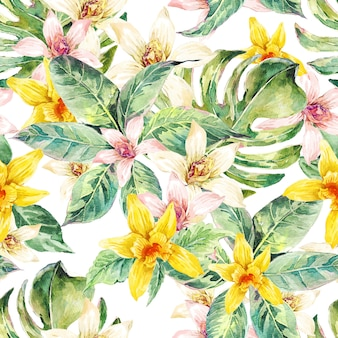 Folhas naturais em aquarela sem costura padrão, orquídea de flor