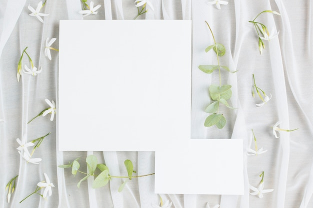 Folhas, ramos, e, jasminum, auriculatum, flores, com, cartão casamento, ligado, echarpe