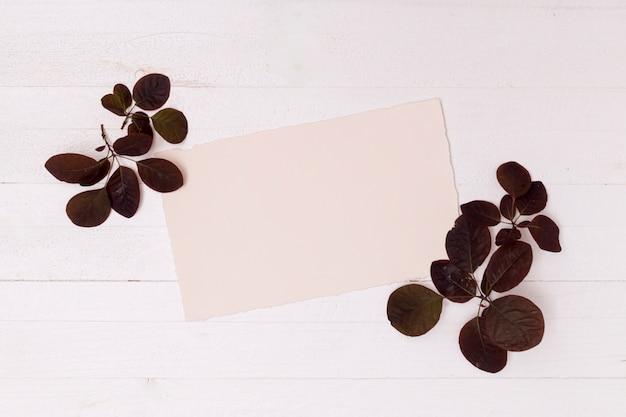 Folhas secas de marrom com espaço de mock-up